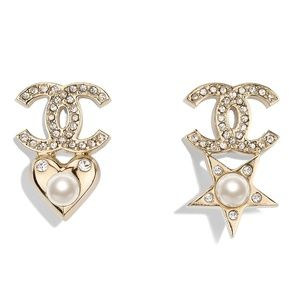 Chanel 19 Gold Star Heart CC pearl crystal earring